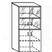Шкаф низкий со стеклом 80*40*162